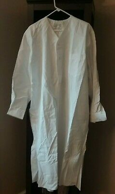 Vtg. W. Merk Oschingen German Military Naval Mens White Long V Neck Night Shirt