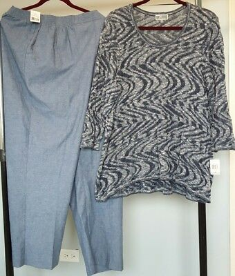 Cotton Sweater  From JM Collection & Alfred Dunner Blue Pants-Size 1X-20W $120