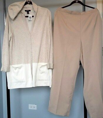 Long Cotton Hooded Thin Sweater Alfred Dunner Khaki Pants-Size 1X-20W $130