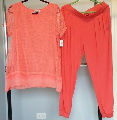 Coral Sequined Florida Top & Pull On Matching Coral Pants  NWT-MACYS OX-16 $130
