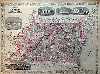 JOHNSON'S Virginia Delaware Maryland West Incision 1866 Map United States Map