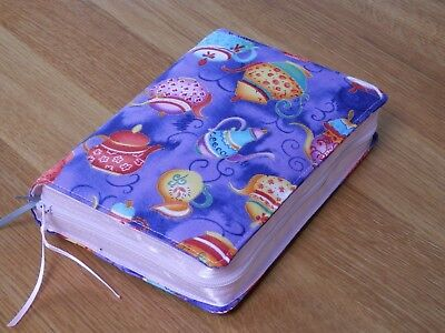 New World Translation 2013 Zipped Fabric Bible Cover - Whimsical Teapots