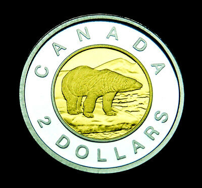 """1998 Canada proof silver """"toonie"""" with gold plating - a gorgeous coin"""