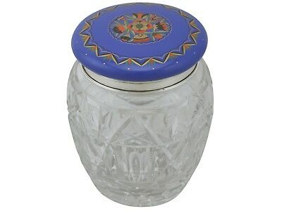Antique Sterling Silver Cut Glass and Enamel Biscuit Barrel 1920s