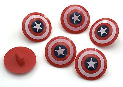 Lego Lot Of 6 New Captain America Round Shields With Star Pattern