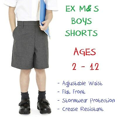 EX M&S Boys School Shorts Age 2 3 4 5 6 7 8 9 10 11 12 Grey Black Adjustable