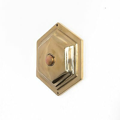 Antique Hexagonal Push Button Doorbell Geometric Door Bell Electric Brass