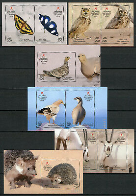 Oman 2016 MNH Wildlife 10v on 6 M/S Hedgehogs Birds Owls Butterflies Stamps