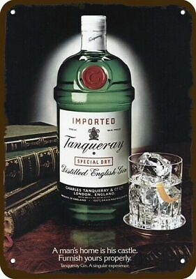 1981 TANQUERAY ENGLISH DRY GIN Vintage Look REPLICA METAL SIGN - NOT ACTUAL GIN!