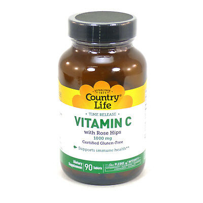 Vitamin C 1000 mg with Rose Hips Time Release by Country Life 90 Tablets