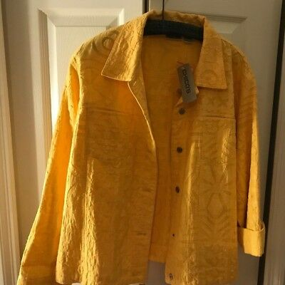 Chico's Sz 3 Xl Jacket Yellow Jean Jacket Silver Buttons  Sz 16 18  Nwt $118 Xl