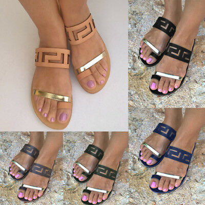 Womens Flat Sliders Slip On Summer Beach Holiday Open Toe Sandals Shoes Size 4-8