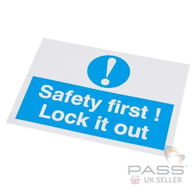 Lockout Self Adhesive Labels - 'Safety First...' - 55 x 75mm, pack of 10