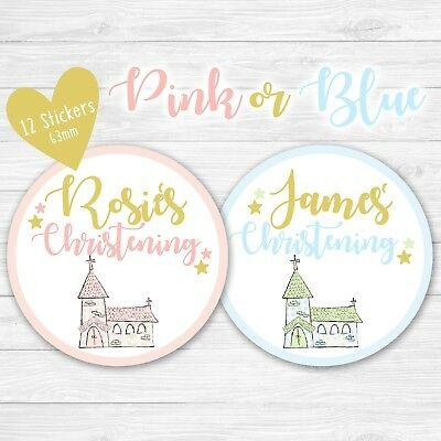 personalised christening party bag stickers round labels sweet cone