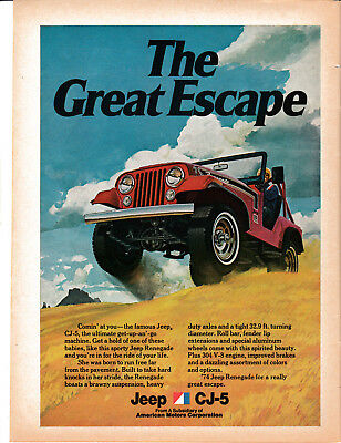 1974 AMC Renegade CJ-5 304 V8-Great Escape-American Motors -Original Magazine Ad