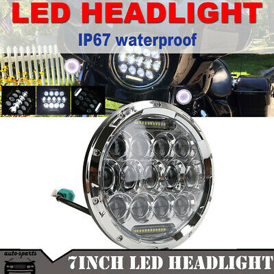 7'' Round Motorcycle Daymaker White Halo LED Headlight For Harley-Davidson
