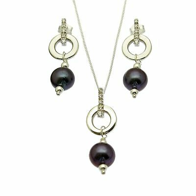Black Pearl Pendant Necklace & Earring Set Sterling Silver Faux Diamond Inlay