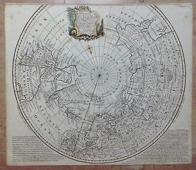 NORTH POLE BY BOWEN XVIIIe CENTURY 1747 LARGE ANTIQUE COPPER ENGRAVED MAP
