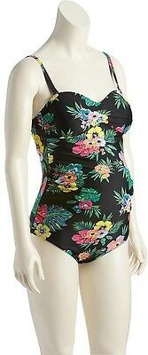 Old Navy Women's Sum. '17 Black Floral Maternity Bandeau Swim Suit L Large NWOT