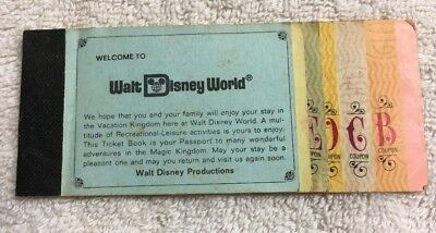 Vintage Walt Disney World Magic Kingdom Ticket Book 1970s Adult