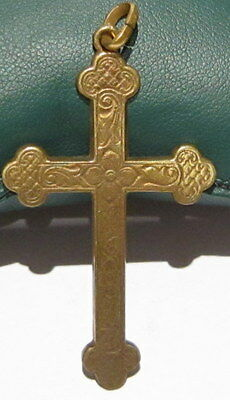 OUTSTANDING VINTAGE BRASS CROSS,ENGRAVING,EARLY 20th. Century !!! # 39A