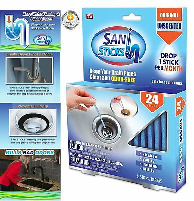Sani Sticks As Seen on TV Drain Cleaner and Deodorizer, Unscented - 24 Pack
