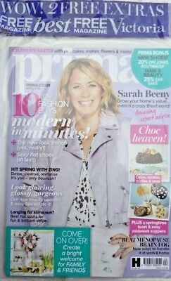 Prima Magazine Issue April 2018 ~ Sarah Beeny ~ 2 X Free Mags ~ New ~
