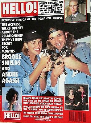 Hello Magazine Number 295 March 12th 1994 Brooke Shields and Andre Agassi