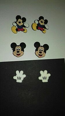 6 x Mickey Mouse Jibbitz Shoe charms for crocs