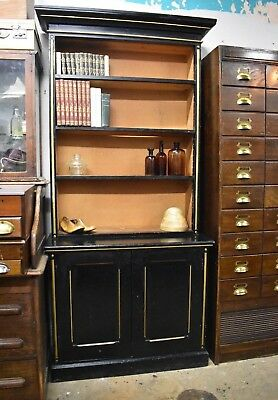 Antique Victorian Open Bookcase Painted  Tall Original
