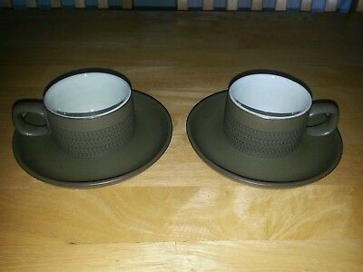 Denby Chevron Green 2x Cups + 2x Saucers (3 bands) Demistasse Or Espresso