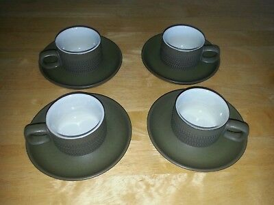 Denby Chevron Green 4x Cups + 4x Saucers (3 bands) Demistasse Or Espresso