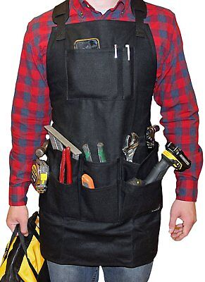 Smith Forge Black Heavy Duty Waxed Canvas Work-Shop-Tool Apron 11Pockets-Adjust