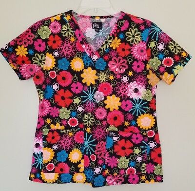 Women's Peaches Sport Scrub Top Size Small