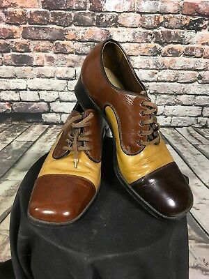 VTG Men's 1970's Roblee Shoes Disco Dress Lace Up Brown Made In USA Size 8.5