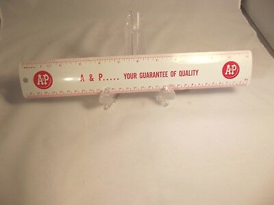 """Vintage A&P Supermarket Grocery Store Advertising 12"""" Metal Ruler USA"""