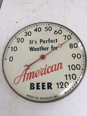 Vintage American Beer Baltimore, MD Glass Covered Round Dial Thermometer WORKS