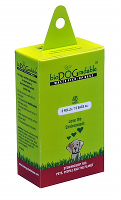 45 poop bags for dog waste, biodegradable and compostable doo-doo bags