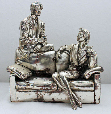 Figure Vittorio fessero 1988 Woman on the Couch and Man Backrest Chrome-Plated