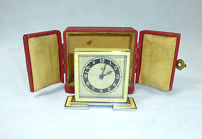 Art Deco Watch in Case Um 1920 Alarm Clock Travel Alarm Clock