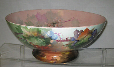 LIMOGES, FRANCE HAND PAINTED PUNCH BOWL ca. 1890s. < 16 in, diam.