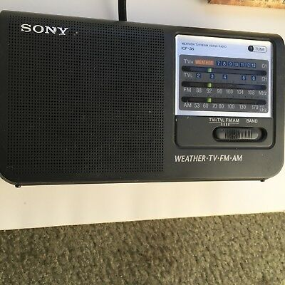 SONY ICF-36 Weather TV/FM/AM 4 Band Radio Tested
