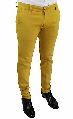 Pantalons Pour Hommes Diamond Casual Jeans Jaune Moutarde Slim Fit Made In Italy