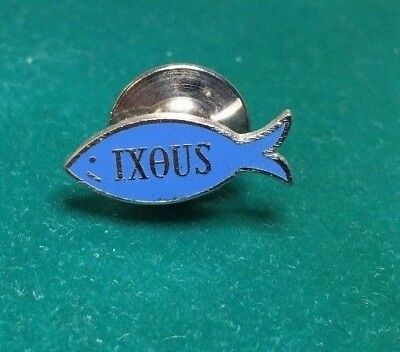 Vintage Sterling Silver & Blue Lapel Pin IXOUS - Religious Fish Lapel Pin