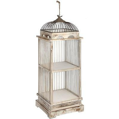 95cm Tall Antique White Wooden Bird Cage Shelving Unit Floral Display Wedding