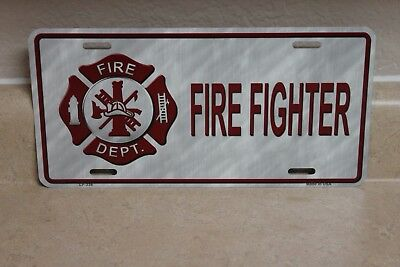 Fire Fighter Novelty License Plate New (Not Embossed)