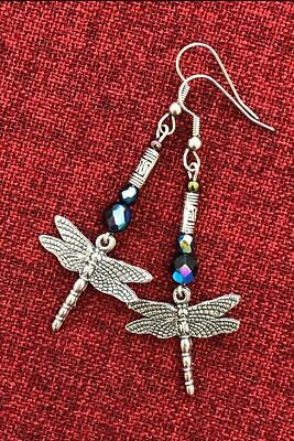 Dragonfly Beaded Celtic Earrings Medieval Surgical Steel Hooks Silver Pewter