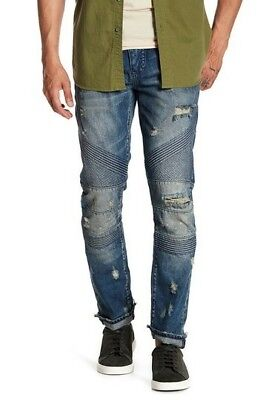 e7ac2279 Prps Mens $395 LE SABRE Distressed Tapered Slim Fit Jeans Moto Size 34X34