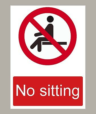 2 X No Sitting Stickers Signs