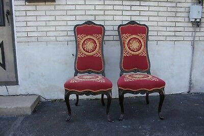 Pair of Decorative French Provincial Carved Side, Accent Chairs with Needlepoint